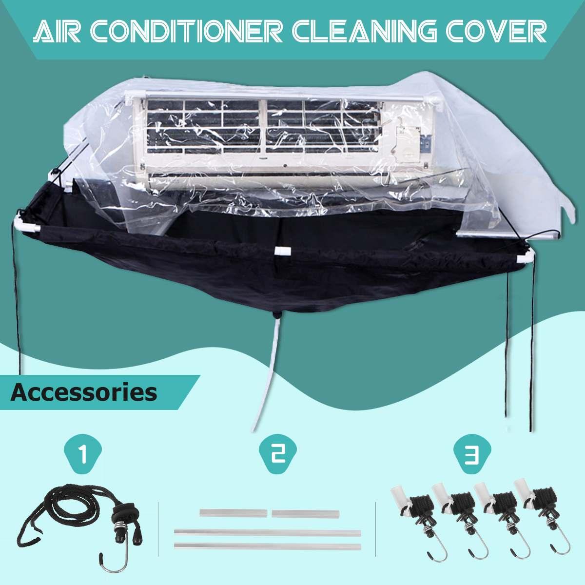 1pc condicionador de ar limpeza capa para fixado na parede dustproof lavagem capa + mangueira limpa à prova dwaterproof água protetor ferramenta saco 140*60cm