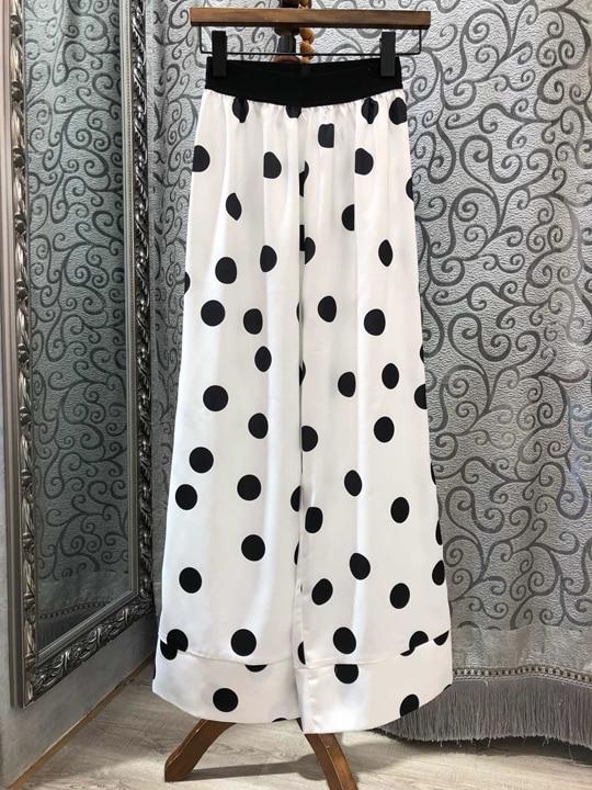Impreso Verano 2019 Pantalones Blanco Ocio Pierna Larga Cintura Punto 0318 Amplia Primavera De Relaja Mujer Y Nueva zq5RR