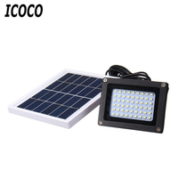 Icoco 54 led 투광 조명 태양 광 센서 램프 빛 방수 ip65 야외 비상 보안 정원 거리 홍수 빛