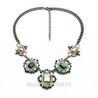 Chic Nowy Hot Sprzedaż Moda W Stylu Vintage Prezent Unikalny Projekt Biżuteria Party Zielony i Niebieski Elegancki Kamień Ustawienie Retro Naszyjniki