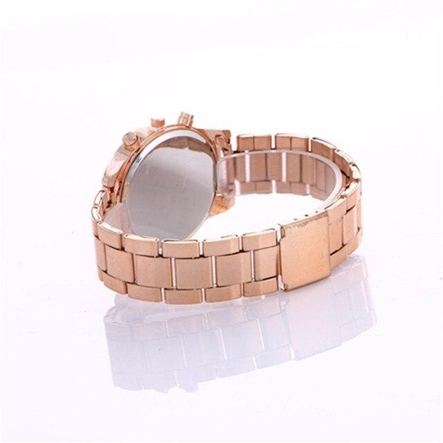2019 mode robe montres femmes hommes Faux chronographe Quartz plaqué classique rond cristaux montre relogio masculino horloge décontractée 5