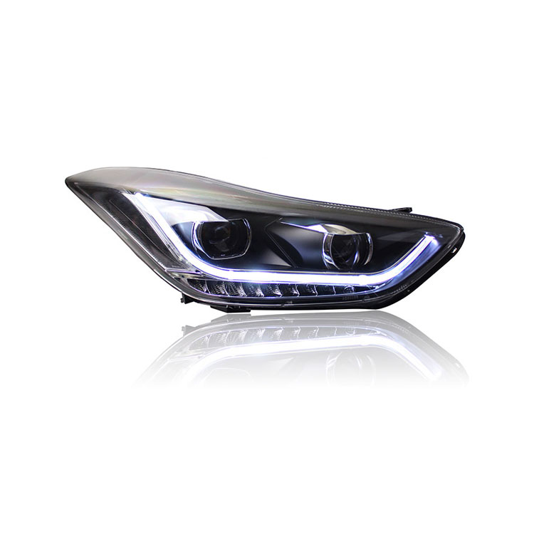 Ownsun New Eagle Eyes LED DRL Bi-xenon Projector Lens Headlights For Hyundai Elantra 2012 2013 2015 ownsun new style tear drop led projector lens headlight for new ford focus 2012 2013