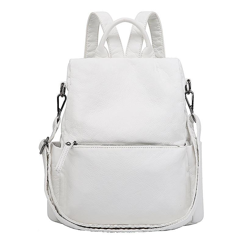 2019 Korea New Women Backpack Washed Leather Soft Backpack White Anti Theft Female Backpack School Bags For Teenage Girls