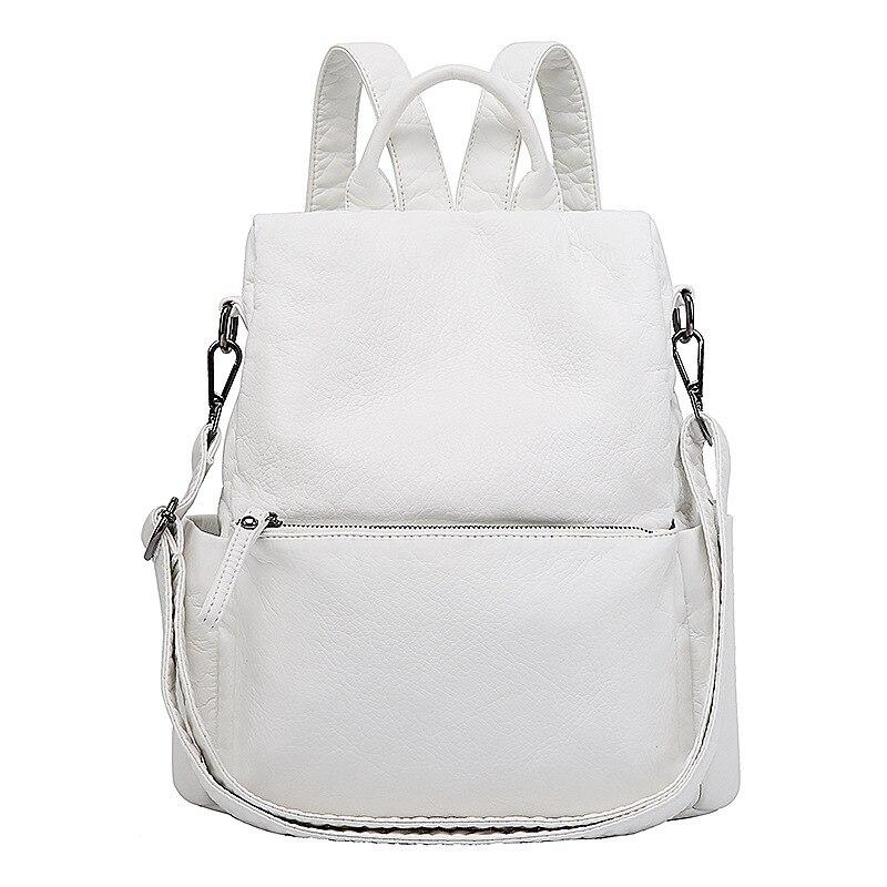 2019 corée nouveau femmes sac à dos en cuir lavé doux sac à dos blanc Anti-vol femme sac à dos sacs d'école pour les adolescentes