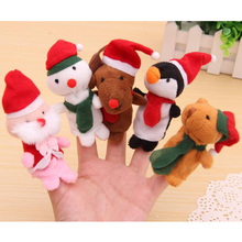 1PC Cartoon Santa Claus Wapiti Snowmen Velvet Finger Puppet Fingers Toy Doll Baby Cloth Educational Hand Story Christmas DSP03