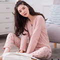 Autumn And Winter Women's Sleepwear Spring Long-sleeve 100% Cotton Casual Pullover Lounge Female At home Pyjamas Set
