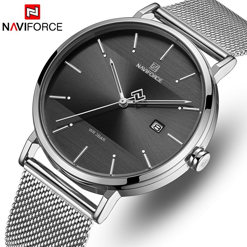 Men Watch Top Brand NAVIFORCE Stainless Steel Mesh Quartz Men's Watches Waterproof Date Business Wristwatch Relogio Masculino-in Quartz Watches from Watches