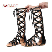 SAGACE Women Sandals Fashion Casual Flats Knee High Boots Roma Shoes Sandals 2019 Summer Sandals For Ladies Sandalia Feminina(China)
