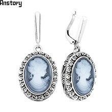 b68b89df2 Anstory Lady Queen Cameo Earrings For Women Snail Pendant