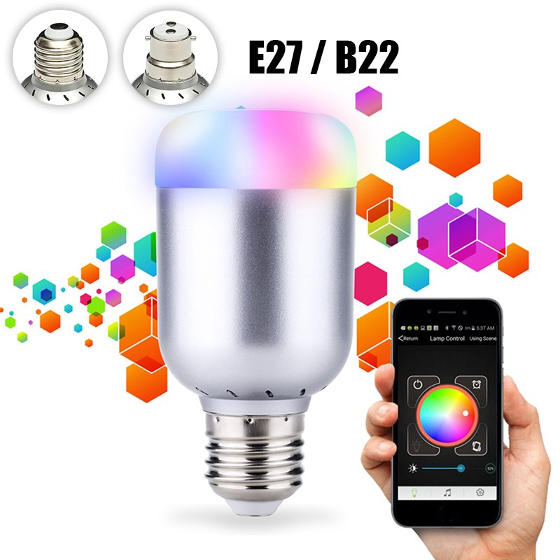 RGBW LED Light Bulb E27 B22 6W Wireless Bluetooth 4.0 Control Music Audio Energy Saving Smart Lamp Bulb RGB Lighting AC110-240V smart bulb e27 led rgb light wireless music led lamp bluetooth color changing bulb app control android ios smartphone