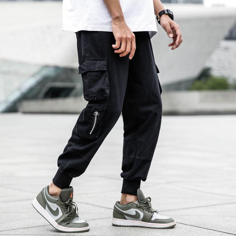 Japanese Style Fashion Men Jeans Black Loose Fit Multi Pockets Cargo Pants Elastic Waist Hip Hop Slack Bottom Joggers Pants Men