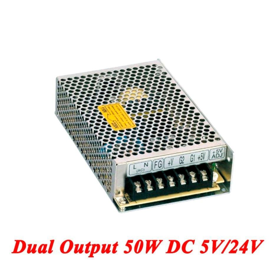 D-50B Switching Power Supply 50W 5V/24V,Dual Output Ac-dc Power Supply For Led Strip,voltage Converter 110v/220v To 5V/24V single output uninterruptible adjustable 24v 150w switching power supply unit 110v 240vac to dc smps for led strip light cnc