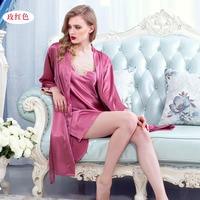 Summer new luxury women silk sleepwear nightgown night skirt sexy lace shoulder straps nightdress twinset L XL XXL