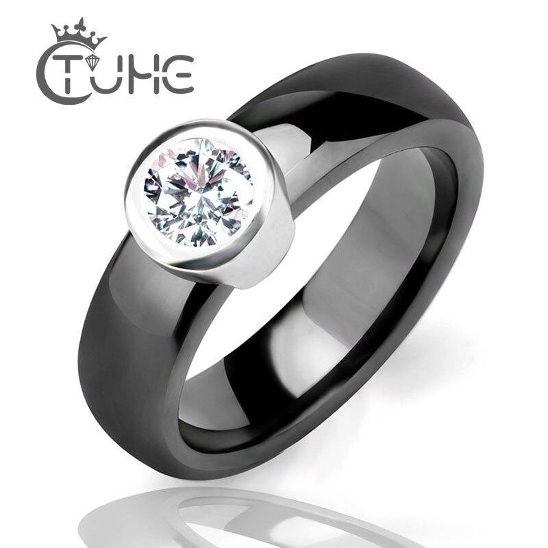Verlovingsring AAA Cubic Zirkoon Grote stenen keramische ring Zwart - Mode-sieraden