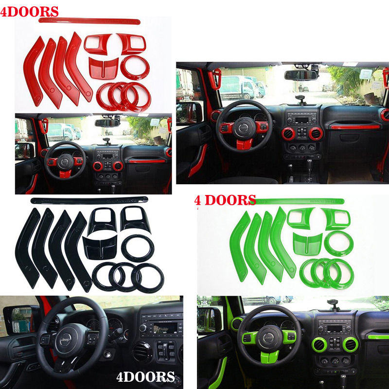 Steering Wheel Trim Air Condition Vent Interior Accessories Door Handle Cover Kits ABS Chrome For Jeep Wrangler JK 4 doors 8pcs stainless steel side door decoration strip for 4 doors for jeep wrangler jk 2007 2016 4 doors car styling accessories