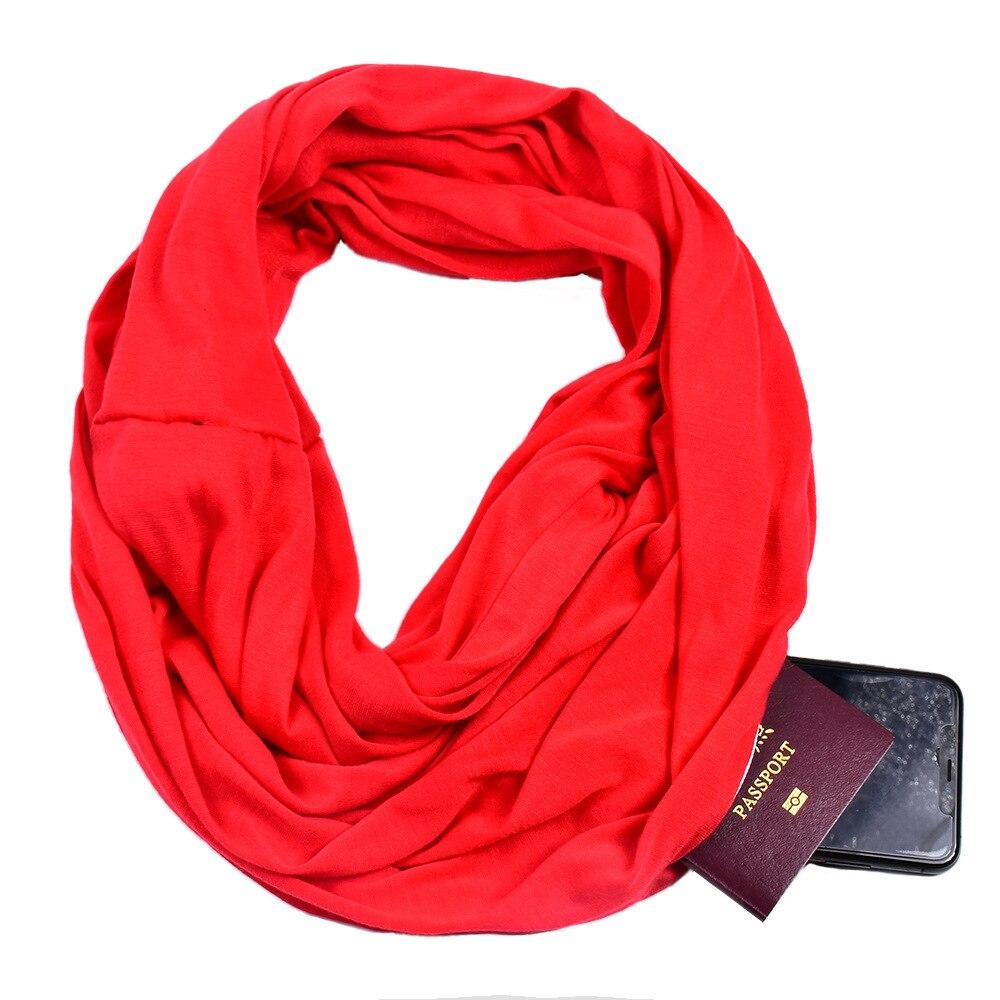 Infinity Scarf Wrap With Secret Hidden Zipper Pocket, Best Travel Scarfs