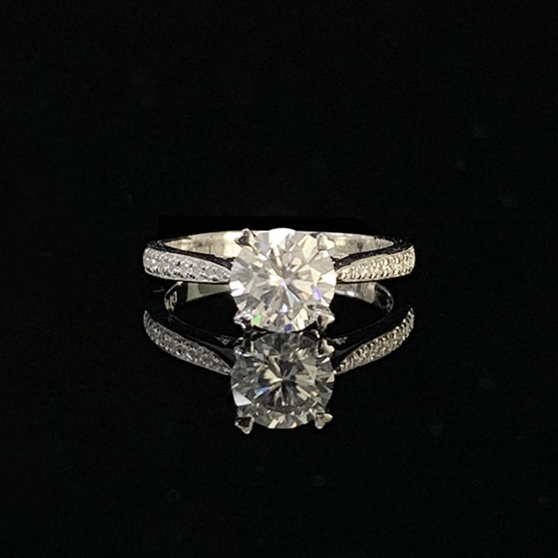 14K White Gold 1.0ct 2.0ct 3.0ct Round Cut Moissanite Ring Luxury Single Row Drill Jewelry Engagement Diamond Ring