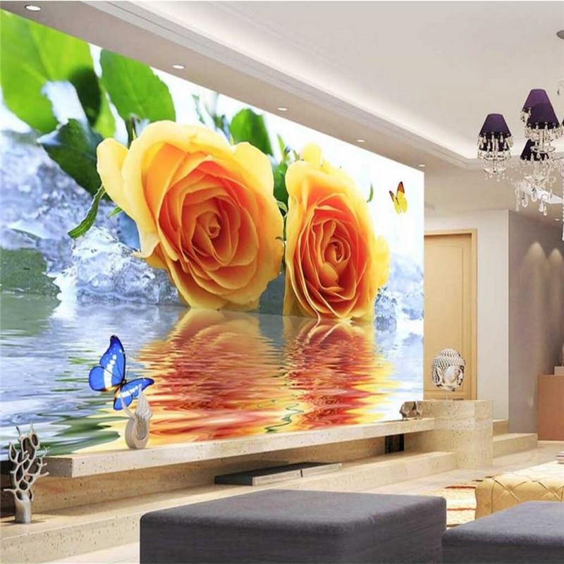 beibehang Wallpaper Mural Wall Sticker Yellow Rose Butterfly Water Reflection Wallpaper TV Wall Background papel de parede