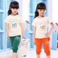 Девочек одежда устанавливает Летний стиль Хлопок спортивный костюм для девочек 2016 новая одежда дети С Коротким Рукавом Футболка и спортивные брюки 2 шт.