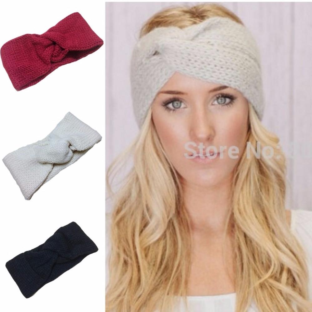 Retail Knitted Turban headband for women Ear Warmer twist black wide ...
