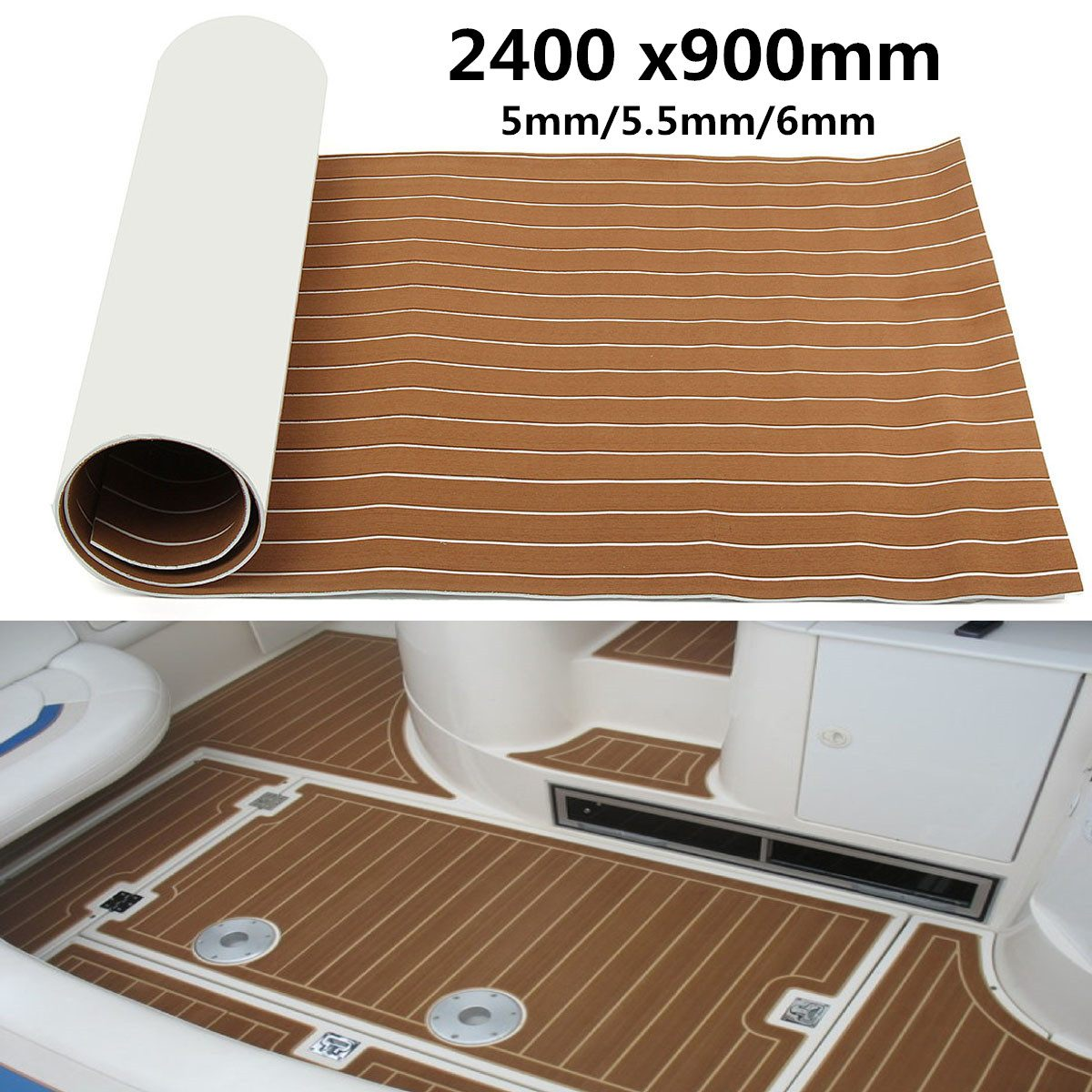 1Roll 2400x900x6mm Boat Marine Flooring Faux Teak EVA Foam Decking Sheet Decor Self Adhesive EVA Foam Floor Mat Cover Brown Gray