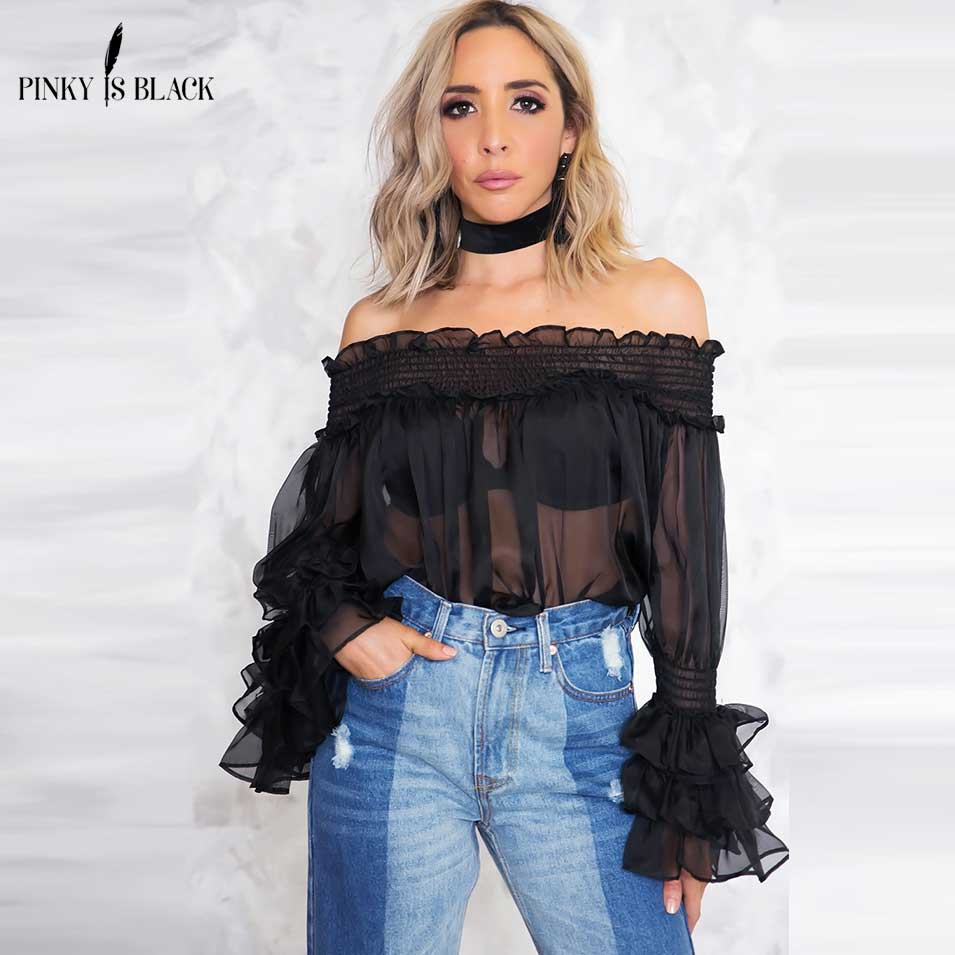 Pinky Is Black 2018 Off shoulder ruffle blouse shirt women tops Casual chiffon sexy perspective long sleeve shirt Fashion bluasa