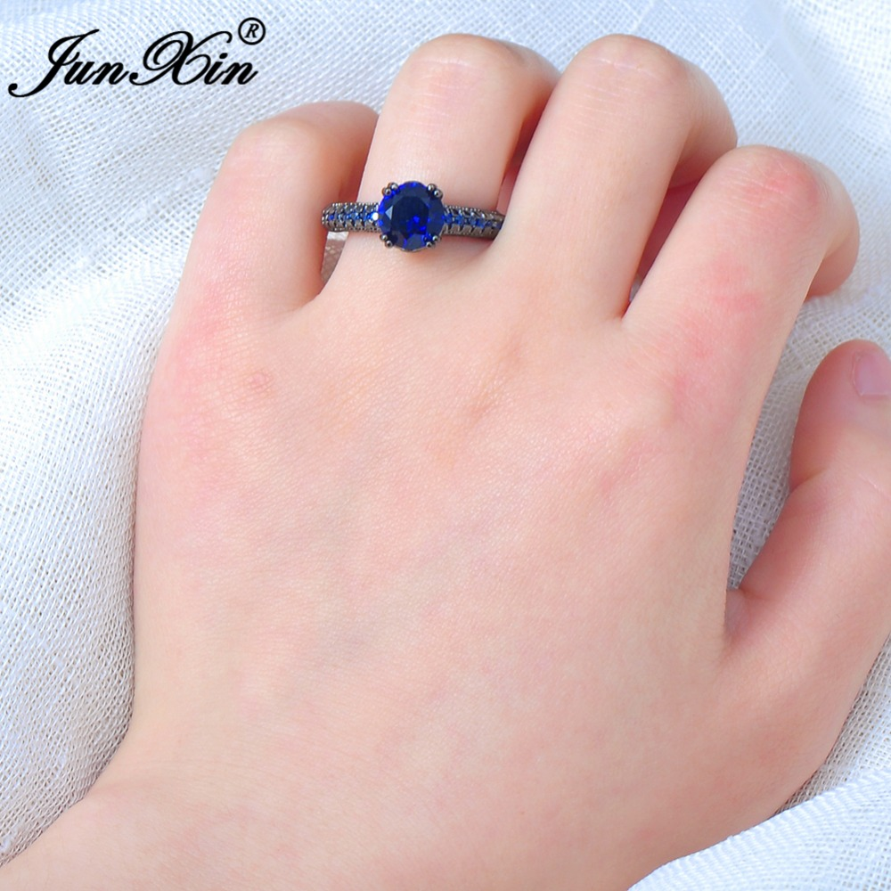 Aliexpress.com : Buy JUNXIN Round Male Female Blue Ring Vintage ...