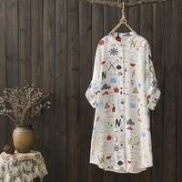 spring and summer women long blouse shirt aesthetic printed letter tops thin cotton linen korean clothes three quarter blusas