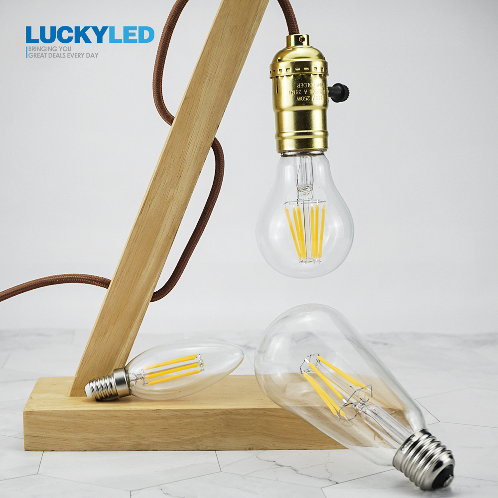 LUCKYLED Led Bulb E27 E14 2W 4W 6W 8W Edison Filament Lamp Light Dimmable 110 220V 240V Vintage Candle Bulbs For Indoor Lighting