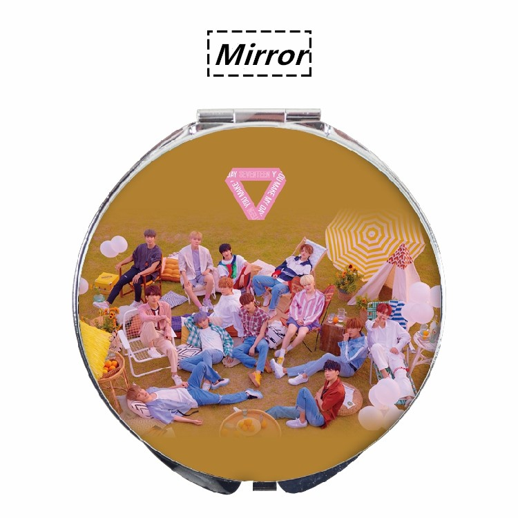 Kpop Seventeen New Album You Make My Day Same Style Portable Makeup Fold Mirror Compact Mirror Jewelry & Accessories