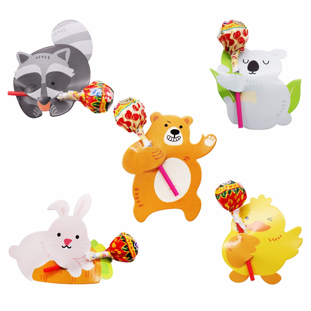 50Pcs Cute Animal Duck Bear Candy Lollipop Decoration Card Wedding Supplies Kids Birthday Party Baby Shower Gift Accessories