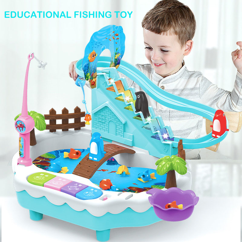 2019 New Toys Educational Learning Machine Durable Plastic Fishing Toys Game With Slideable Penguin For Two Kids