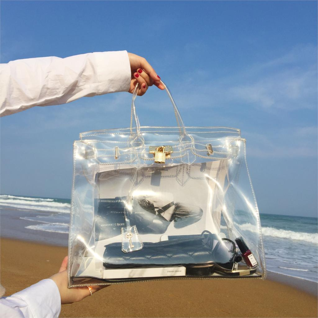 Imperméable à l'eau transparent plage gelée grande capacité paquet dames main 2018 nouvelles serrures unique sac à bandoulière diagonale main paquet