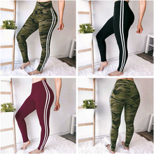 New Arrival Women Fitness Sport Pants Sexy Camouflage Black Solid color Ribbon Strap Sports Yoga Workout Elastic Leggings