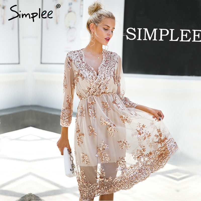 Simplee V neck long sleeve sequin party dresses women Sexy mesh streetwear christmas midi dress female 2017 autumn dress vestido 1