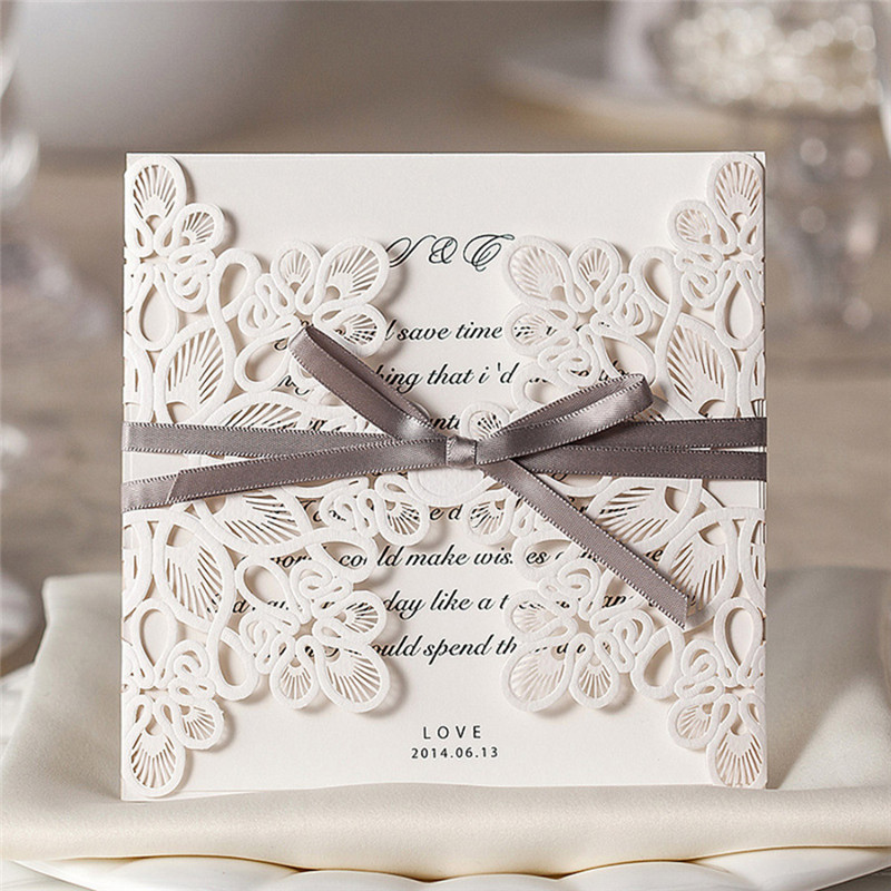 1pcs Sample Purple Laser Cut Hollow Wedding Invitation Card With Customized Printing Ribbon Envelopes