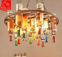 Simple Glass Bar Creative Coffee Shop Colored Wine Bottle Chandelier