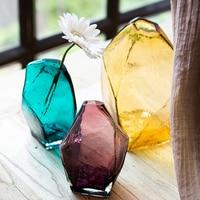 Creative Ice Handcraft Glass Vase Desktop Decorative Bottle For Flower Plant DIY Home Decoration Terrarium Hydroponic Container