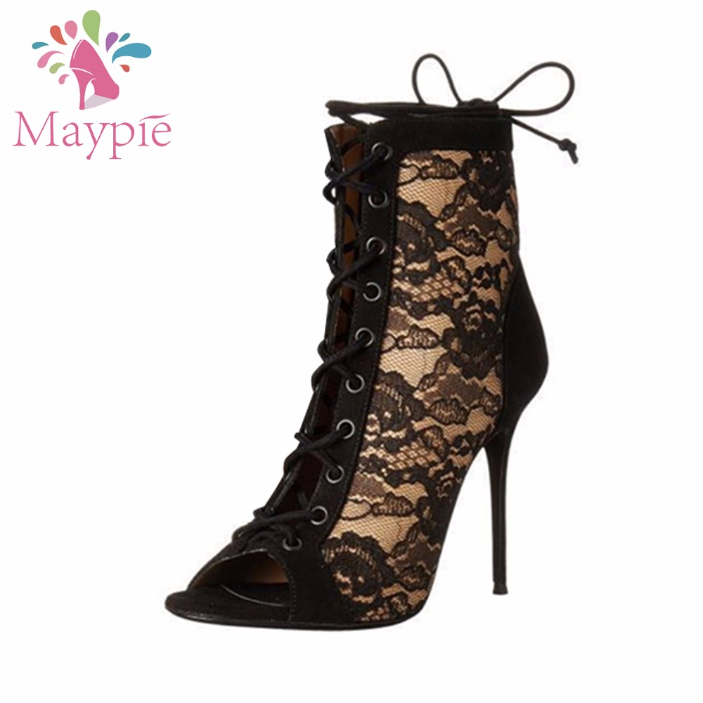 MAYPIE Sexy Lace Rome Peep Toe Cross-tied Cover Heel Super High Thin Heels 12CM Sandals Women H  Shoes for Party Ankle top selling 2017 summer sexy women solid black open toe cross lace up gladiator cuts out thin heels high heel sandals party shoe