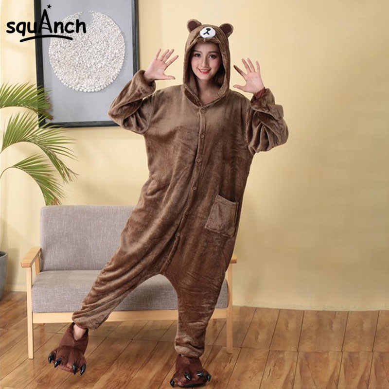 074a212b41 Bear Onesie Women Men Adult Pajama Overalls Animal Brown Bear Costume Big  Size Loose Style Carnival