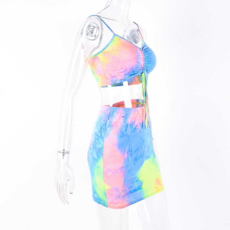Hugcitar spaghetti straps tie dye print sexy camis skirt two 2 piece set 2019 summer women fashion party club holiday tracksuit 17