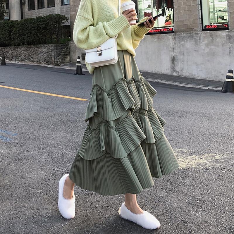 BGTEEVER Elegant Green Summer Skirt Elastic Waist Women Pleated Ruffles Long Skirts A-line Feminino Faldas Saias Jupe 2019
