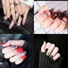 Nail Trends Flat Collection False Nails Japanese Finished Glue Patch Tools Manicure Decals Minx Decorations
