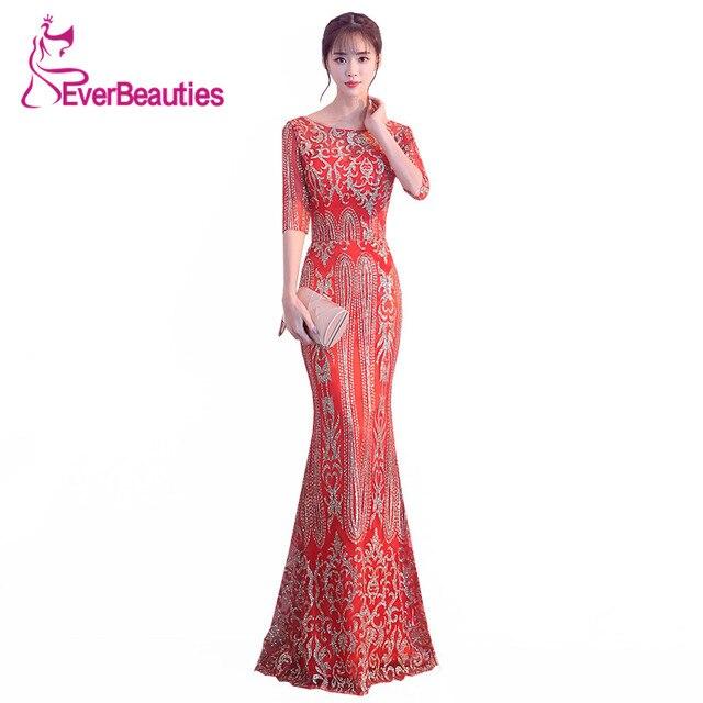 Mermaid Evening Dress Long 2018 Luxury Sequin Gowns Half Sleeves Wedding Guest Robe De Soiree