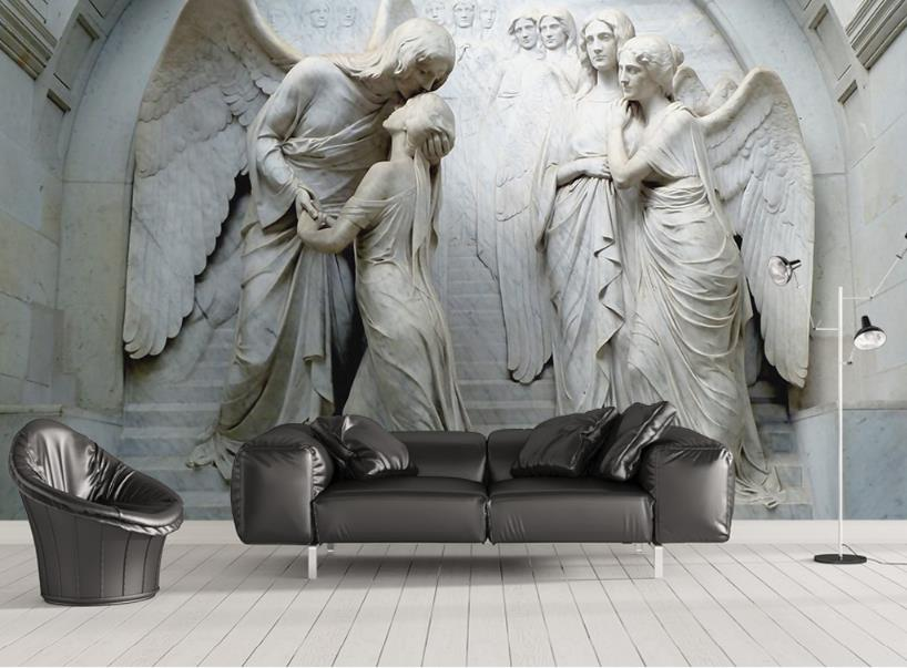 photo wallpaper mural Embossed classical religious figure angel modern wallpaper photo