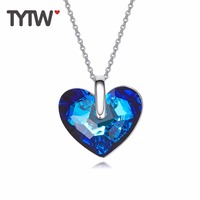 TYTW Crystals From Austrian Necklaces Women Ocean Heart Pendant Blue Austrian Rhinestone Chic Fashion Jewelry Gift Necklace