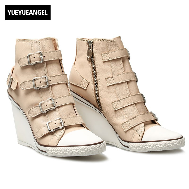2018 New Genuine Leather High Top Shoes Women Designer High Heel Wedge Shoes Khaki Round Toe Zipper Sneakers Female Plus Size 42 women pumps 2016 new fashion female mature round toe buckle pu leather female shoes white khaki size 35 39 wwh013
