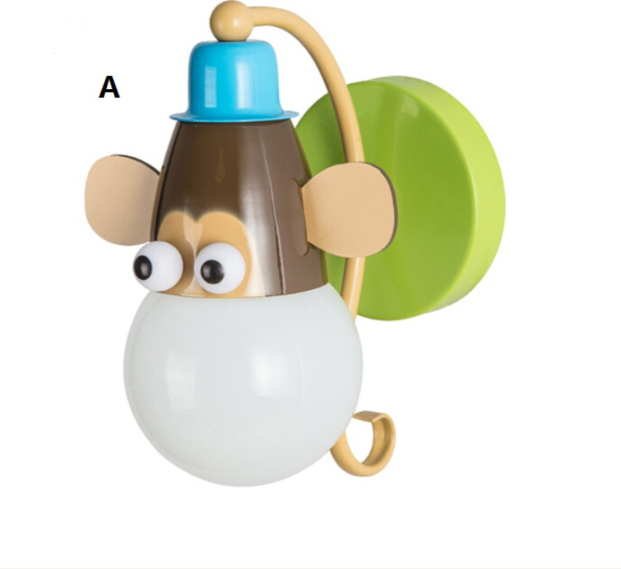 2016 Creative Cute Zoo Wall Lamp For Kids Room Animal Wandleuchte Children Semi Wall Light for Home Baby Bedroom E27 Abajour New