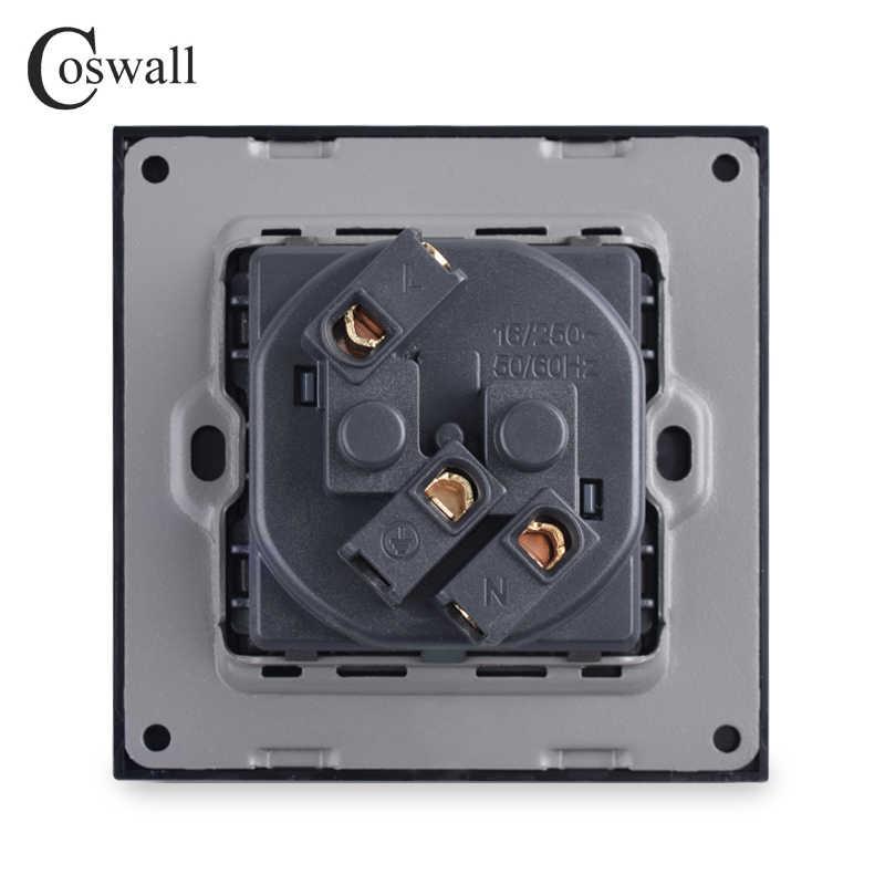 Coswall קיר גביש זכוכית פנל כוח שקע תקע מעוגן 16A צרפתית שקע חשמל סטנדרטי 86mm * 86mm