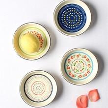 цена Ceramic Dinner Plates Rice Tableware National style Round Dessert snack Dish Simple and Creative cake Salad Plate Baking bowl